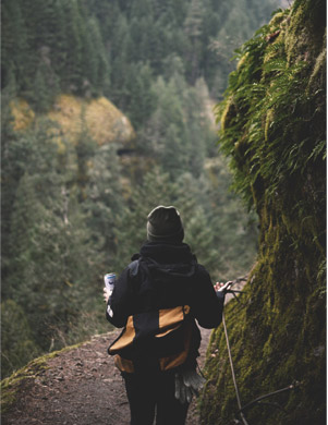 woman walks in nature